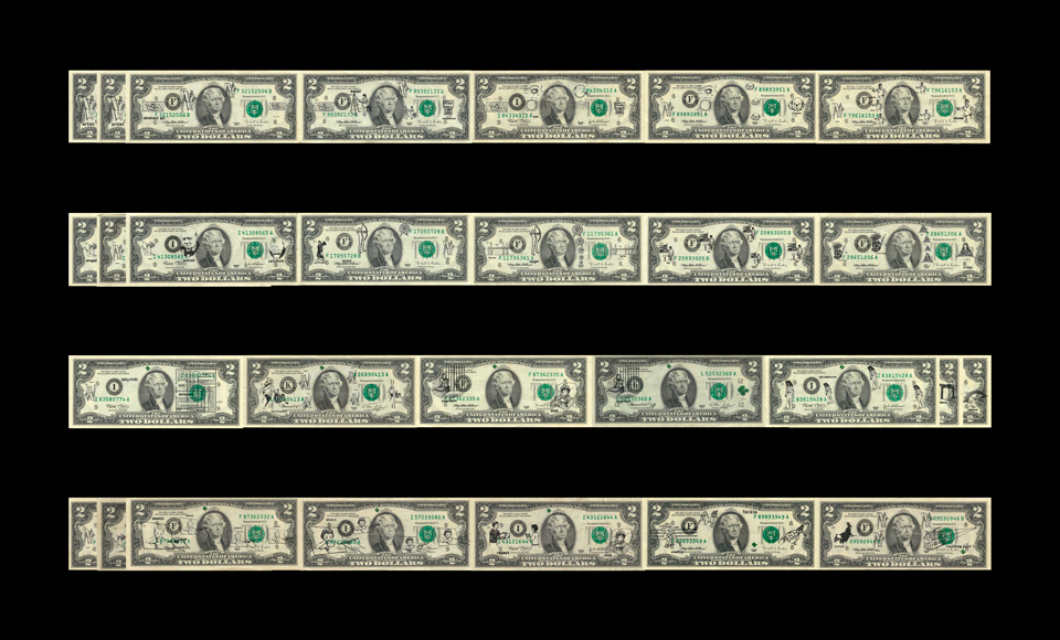 Variations on Artists' Lucky Two-dollar Bills